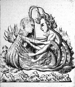 "The ""union of irreconcilables"": marriage of water and fire. The two figures each have four hands to symbolize their many different capabilities.—After an Indian painting"
